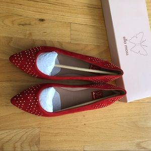 Ella Moss Savan Pointed Toe Shoes in Carmine